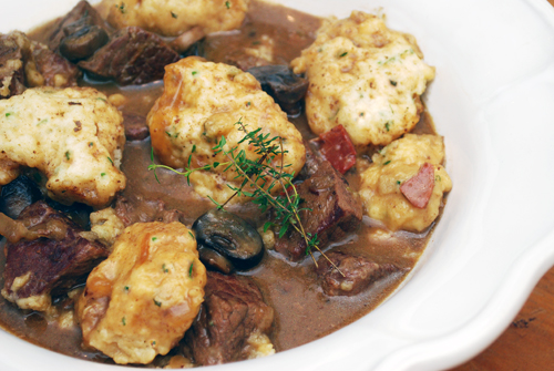 Beer Braised Pot Roast with Herb Dumplings by FamilySpice.com