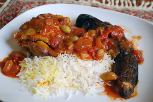 Persian Eggplant Stew with Chicken (khoreshteh qiemeh bademjoon) by familyspice.com